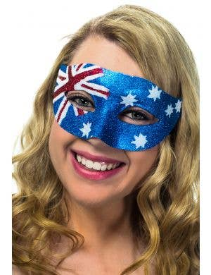 Australian Flag Glitter Mask, Unisex, Female View