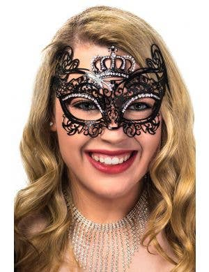 Deluxe Black Flexible Metal Crown Princess Masquerade Mask