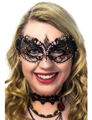 Women's Light Weight Royal Princess Filigree Black Die Cast Metal Masquerade Mask