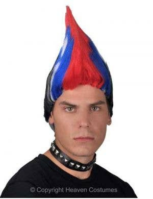 Men's Multicoloured 80's Punk Mohawk Costume Wig