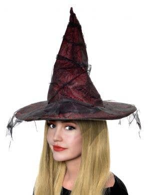 Women's Red Tattered Witch Halloween Costume Hat