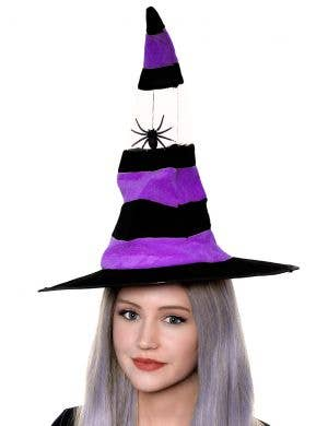 Women's Black And Purple Spider Witch Costume Hat