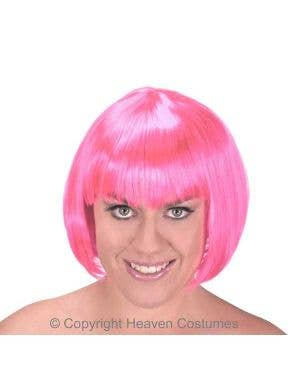 Women's Hot Pink Short Bob Costume Wig