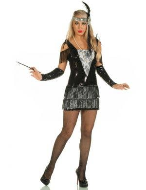 Teen Girl's Great Gatsby Black Flapper Dress Costume Front