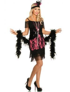 Pink and Black Lace 1920's Women's Flapper Fancy Dress Front