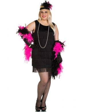 Plus Size Short Black 1920's Women's Flapper Dress Front View