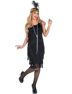 Women's Long Black Fringed Flapper Costume Front View