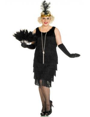 Plus Size Women's Long Black Flapper Costume Front View