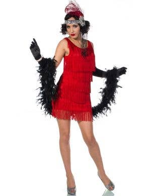 Women's Sexy Red Short 1920's Flapper Costume Front View 1