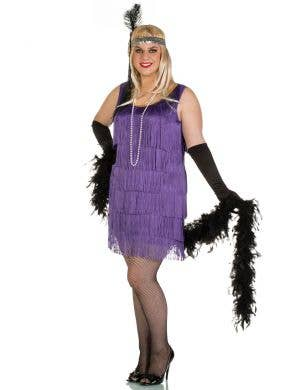 Plus Size Women's Short Purple Flapper Costume Front View