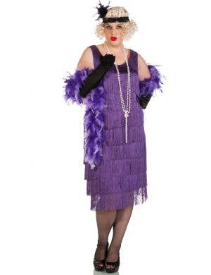 Women's Long Plus Size Purple Flapper Dress Front View