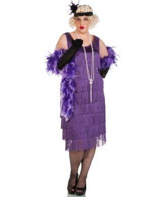 Women's Long Plus Size Purple Flapper Dress Front View