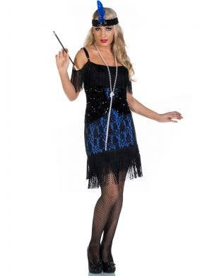 Miss Elsie Deluxe Black and Blue Roaring 20's Flapper Costume Front