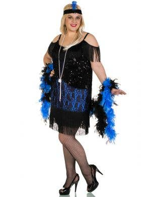 Miss Elsie Plus Size Deluxe Black and Blue Women's Flapper Costume Front