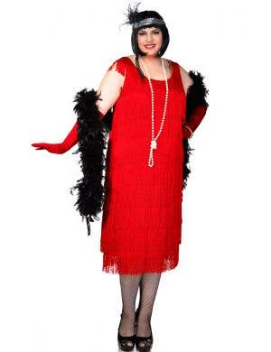 c3ed70601eb55 Plus Size Long Deluxe Roaring Red Women s Flapper Costume Front ...