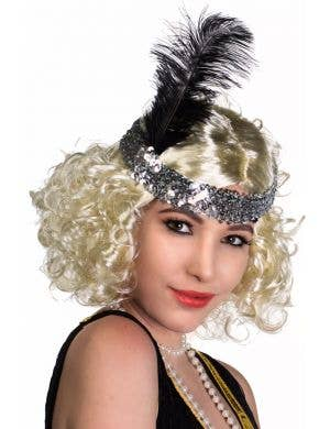 Silver Sequinned Flapper Headband With Large Black Feather View 1
