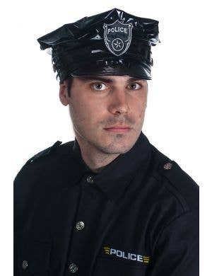 Black Vinyl Police Hat Costume Accessory View 1