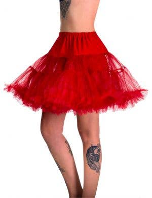 Deep Vibrant Red Fluffy Thigh Length Costume Petticoat