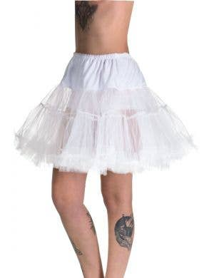 Women's Plus Size Fluffy White Thigh Length Costume Petticoat