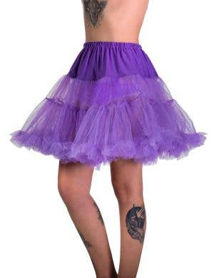 Women's Fluffy Purple Thigh Length Costume Petticoat