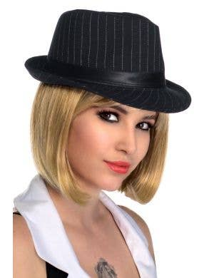 Women-s Black and White Stripe Wool Look Gangster Trilby Hat View 1