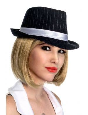 Women's Black and White Pinstripe Trilby Gangster Hat View 1