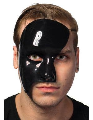 Men's Black High Shine Phantom of the Opera Half Face Masquerade