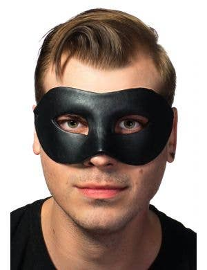 Men's Deluxe Black Leather Look Masquerade Mask