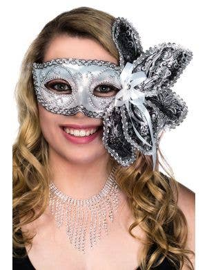 Deluxe Silver Foil and Brocade Masquerade Mask