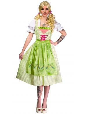Green and White Checkered Teen Girls Long Oktoberfest Costume Front View