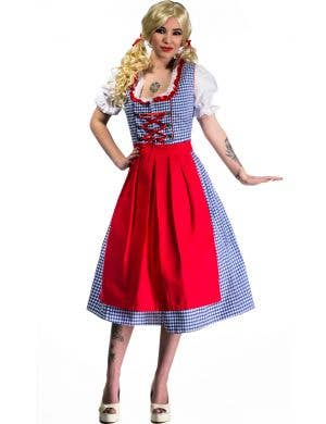 Blue and White Checkered Women's Long Oktoberfest Costume Back View