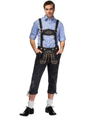 Men's Blue and Black Lederhosen Oktoberfest Costume Front View