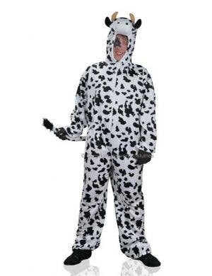 Adult's Plus Size Cow Onesie Costume Front View