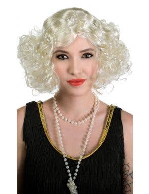 1920's & 30's Flapper Movie Star Platinum Blonde Costume Wig View 2