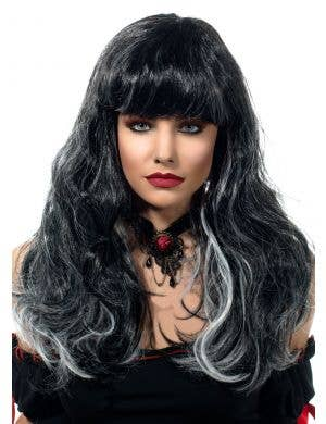 Undead Gothic Bride Black and White Costume Wig