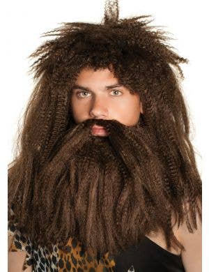 Prehistoric Caveman Brown Wig and Beard Set