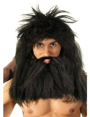 Prehistoric Caveman Black Wig and Beard Set