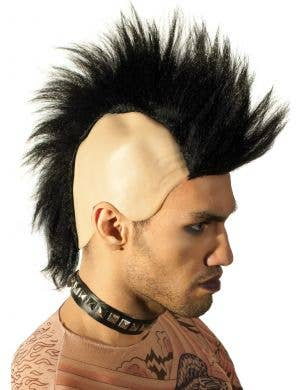 80's Skinhead Black Mohawk Wig
