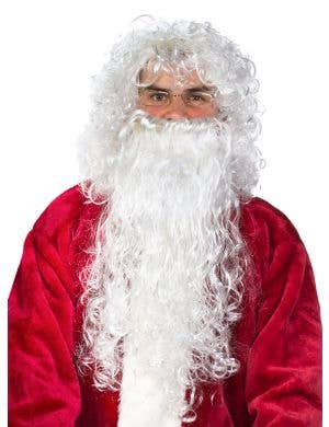 Curly Budget Santa Beard and Wig Set - White