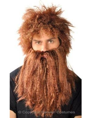 Bushy Brown Caveman Beard And Wig Set