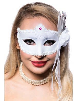 Women's White Masquerade Mask With Side Feathers Front View