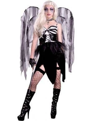 Women's Black and White Bad Fairy Halloween Costume Main Image