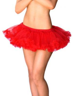 Red Short Fluffy Red Tutu Petticoat CloseView