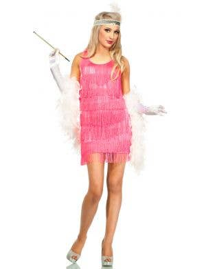 Women's Pink Fringed Flapper Costume Dress Front View