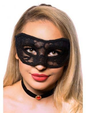 Elegant Black Transparent Lace Masquerade Mask
