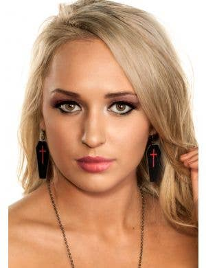 Leather Coffins Halloween Earrings - Black and Red