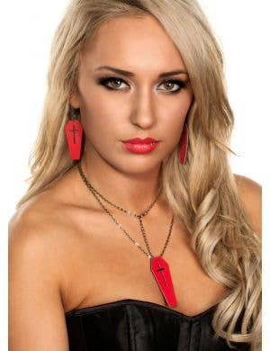 Leather Coffin Halloween Necklace - Red and Black