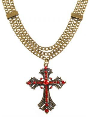 Triple Chain Rustic Gothic Cross Deluxe Necklace