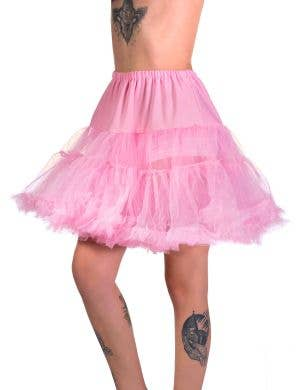 Women's Light Pink Thigh Length Fluffy Costume Petticoat