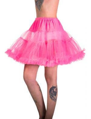 Women's Hot Pink Thigh Length Fluffy Costume Petticoat